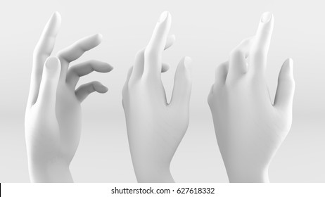 White hand on a white background. 3d image, 3d rendering.