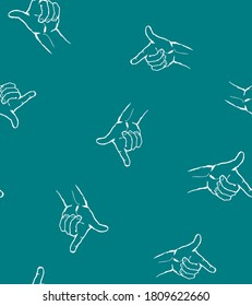 White Hands on turquoise background