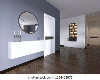 white hanging console with a mirror in the living room modern style. 3d rendering.