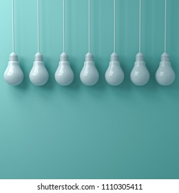 White hanging light bulbs on green cyan pastel color wall background . 3D rendering.