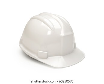 White hard hat isolated on white