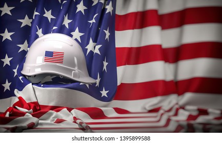 White hard hat laying over USA flag. Construction and employment in United States USA concept, Labor day. 3d illustration