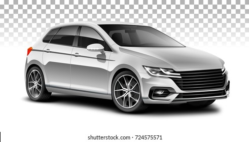 White hatchback generic car. City car with glossy surface on white background. Perspective view with isolated path