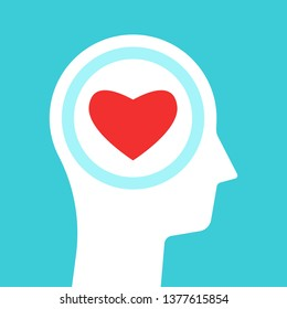 White head silhouette with red heart inside it on turquoise blue background. Love, emotion, sense and passion concept. Flat design