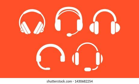 white headphones icon illustration on orange background