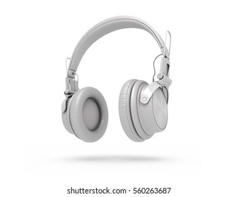 White Headphones Isolated on a white  Background. 3d rendering