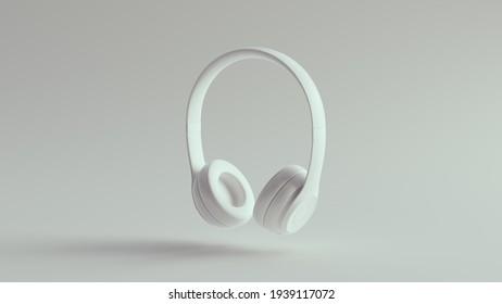 White Headphones Slim Luxury Earphones 3d illustration 3d render