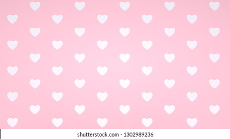 White Hearts Isolated On The Pastel Pink Background. Pattern, Texture - Valentine's Day - 3D Illustration