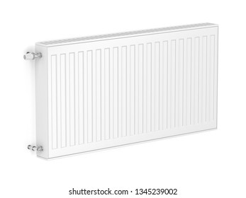 White heating radiator attached on wall, 3D illustration