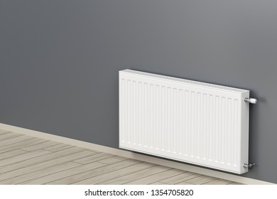 White heating radiator in the room, 3D illustration