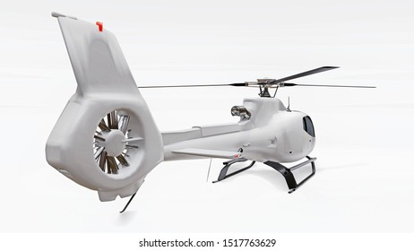 White helicopter isolated on the white background. 3d rendering.