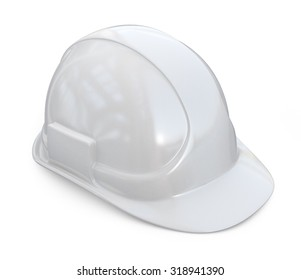 White helmet, hardhat. 3D Icon isolated on white background