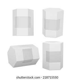 White hexagon box packaging with clipping path. Mock up packaging for all kind of product, ready for your design .