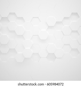White Hexagon Texture (3d illustration)