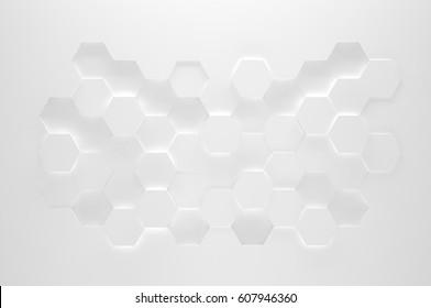 White Hexagon Texture (3d illustration)
