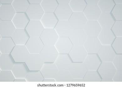 white Hexagonal background,3D render