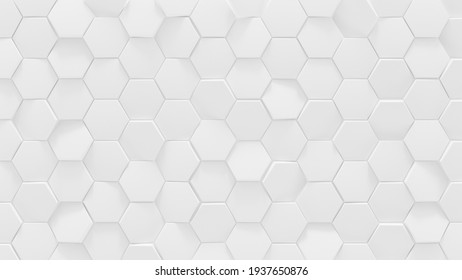 White hexagonal geometric background. 3D render