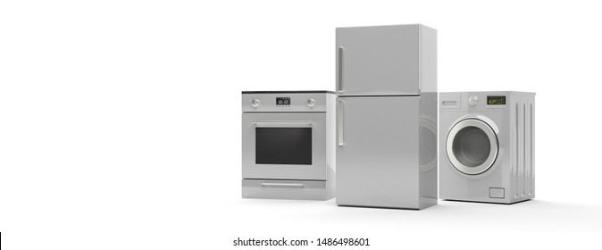 White home appliances set isolated on white background, banner copy space. Fridge, electric stove and washing dryer machine. 3d illustration