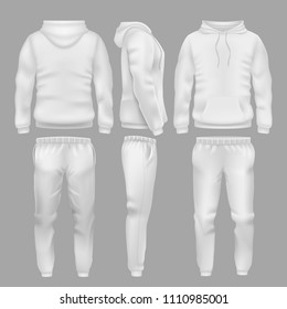 White hooded sweatshirt with sports trousers. Active sport wear hoodie and pants templates. Sportswear sweatshirt hoodie and urban pants illustration