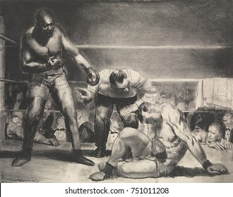 THE WHITE HOPE, by George Bellows, 1921, American print, lithograph. Scene based on African American Jack Johnson, World Heavyweight Champion whose White Hope opponent is knocked down as the referee c
