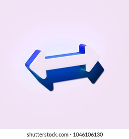 White Horizontal Arrows Icon. 3D Illustration of White Arrows, Bi Directional, Horizontal, Pass Icons With Blue and Green Shadows.
