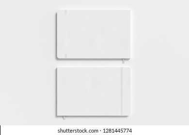 White horizontal notebook with elastic band on white background. Front and back cover. 3d illustration