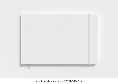 White horizontal notebook with elastic band on white background. 3d illustration