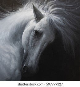 white horse is dark side - oil painting