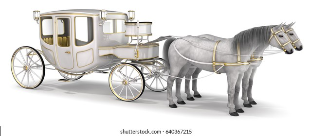 A white horse drawn carriage. 3d image isolated on white.