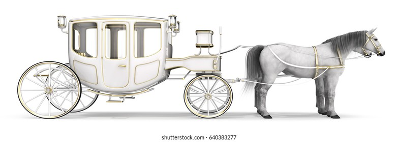 White horse drawn carriage. 3d image isolated on white