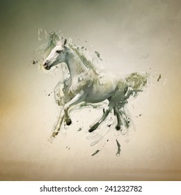 White horse in motion, abstract animal concept. Can be used for wallpaper, canvas print, decoration, banner, t-shirt graphic, advertising.