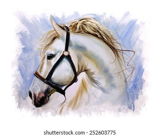 White Horse peaceful painting