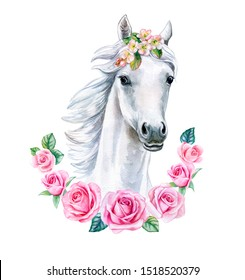White horse with pink floral frame isolated on white background. Cute watercolor clipart. Trendy cartoon horse. Template. Close-up. Clip art. Hand drawn. Template. Hand painted
