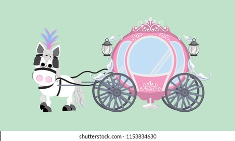 White horse pulling a pink fairytale carriage.