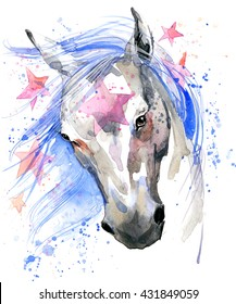 White horse T-shirt graphics. illustration watercolor