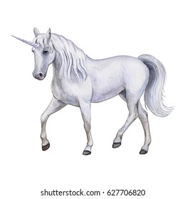 The white horse is a unicorn Isolated on white background. Watercolor, illustration, image for print, poster, book, textile, clothing design. Isolated on white background.