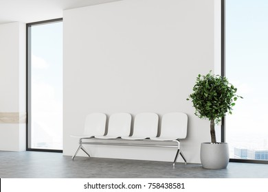 White hospital corridor with windows and white chairs for patients waiting for the doctor visit. A potted tree. 3d rendering mock up