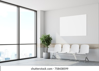 White hospital lobby with windows and white chairs for patients waiting for the doctor visit. A potted tree. 3d rendering mock up
