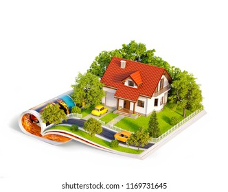 White house of dream with white fence, garden and trees on opened pages of magazine. Unusual 3d illustration. Travel and camping concept. Isolated