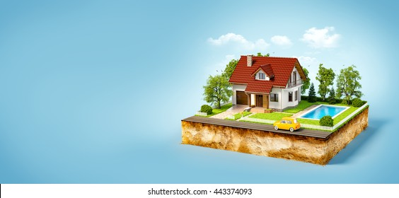 White house of dream on a piece of earth with white fence, garden, pool and trees. Unusual creative 3d illustration
