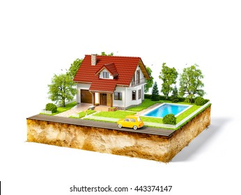 White house of dream on a piece of earth with white fence, garden, pool and trees. Unusual creative 3d illustration isolated at white background