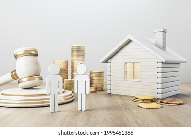 White house with golden coin stacks, male, female and gavel on concrete and wooden background. Divorce and property division concept. 3D Rendering