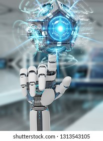 White humanoid hand on blurred background using drone security camera 3D rendering