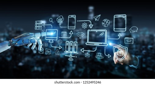 White humanoid on blurred background controlling modern devices interface system