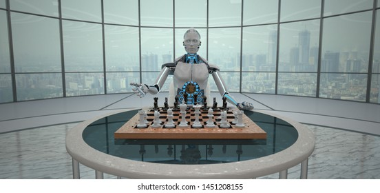 White humanoid robot with a chessboard on the table. 3d illustration.