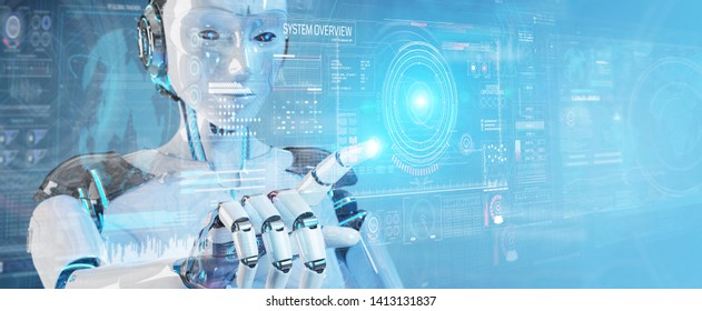White humanoid robot on blurred background using digital technological interface with datas 3D rendering