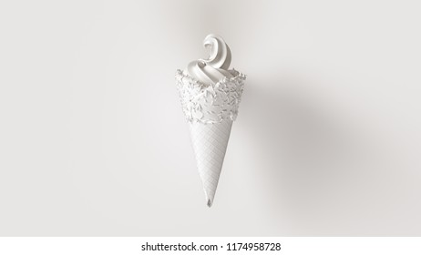 White Ice Cream with White Icing and White Sprinkles 3d illustration
