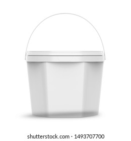 White Ice Cream Tub On Isolated White Background, Realistic Rendering Of Ice Cream Tub, Ready For Design, 3D rendering