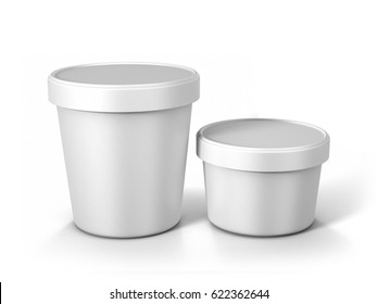 White Ice Cream Tub On Isolated White Background, Realistic Rendering Of Ice Cream Tub, Ready For Design, 3D Illustration