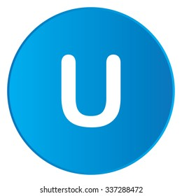 A White Icon Isolated on a Blue Button - U